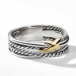 David Yurman Crossover Ring Size w 18k gold 6.5